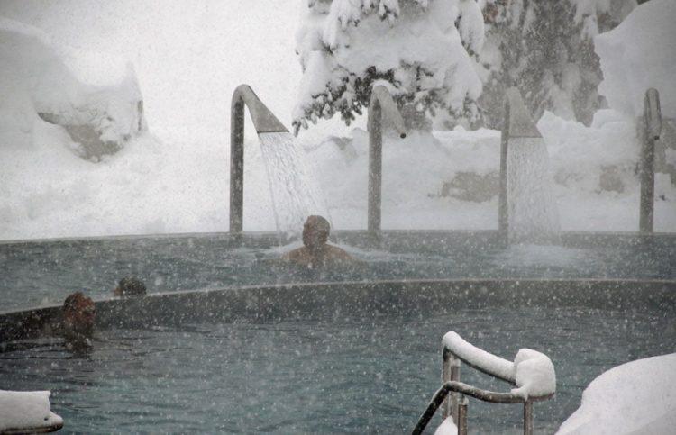 Burgerbad in snowy weather in Leukerbad, Switzerland