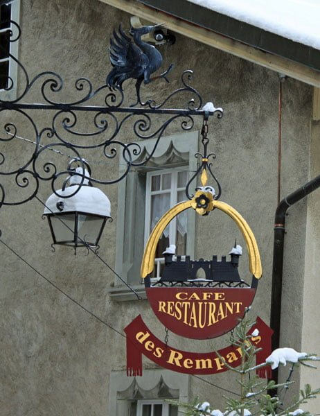 Café Restaurant Sign in Gruyères, Fribourg
