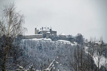 Snow-Covered Chateau de Gruyères in Fribourg, Switzerland