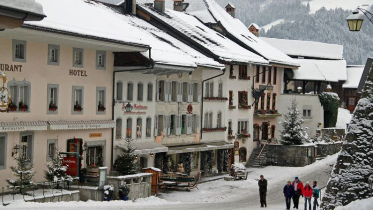 Snow-Covered Gruyères in Winter