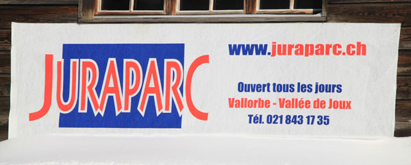Juraparc Sign near Vallorbe in the Vallée de Joux, Switzerland