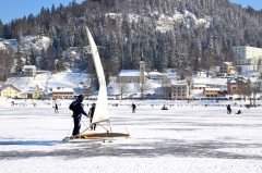 A frozen over Lake Joux