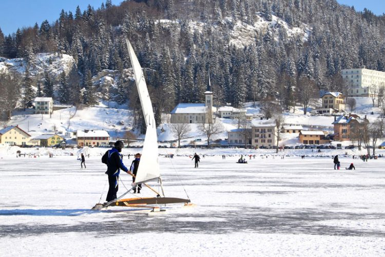 A frozen over Lake Joux