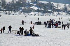 Food Stalls in a Frozen Lac de Joux, Switzerland