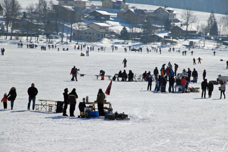 Food Stalls in a Frozen Lac de Joux, Switzerland