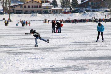 Ice-Skating on Lake Joux in Switzerland