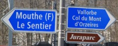 Vallorbe Road Sign in Le Pont on Lac de Joux, Switzerland