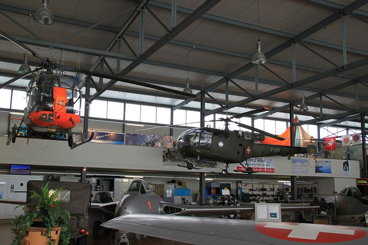Helicopters in the Clin d'Ailes Museum of Military Aviation