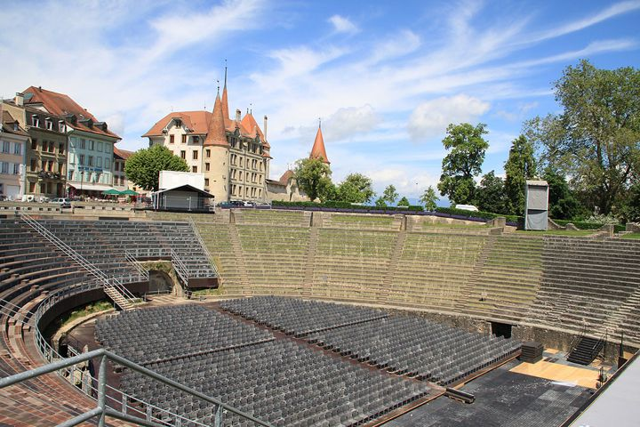 Roman Amphitheater and Renaissance Castle in Avenches in Switzerland