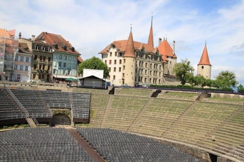 Amphitheater and Castle in Avenches in Switzerland