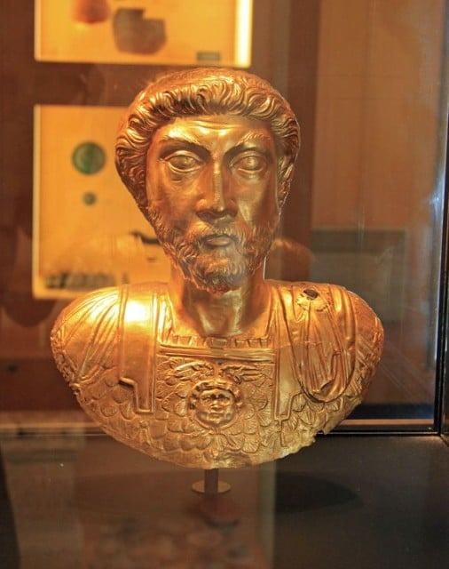 Golden Bust of Marcus Aurelius in the Roman Museum in Avenches in Switzerland09