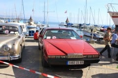 A red Aston Martin Lagonda at the British Classic Cars in Morges