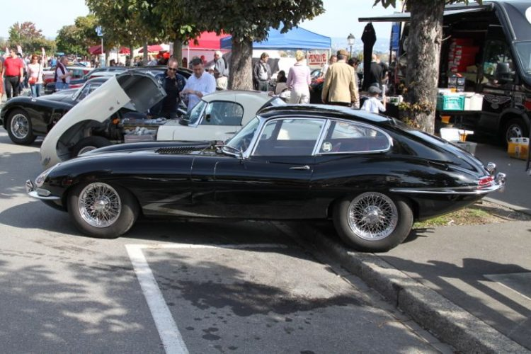 E Type Jaguar at the British classic cars show in Morges