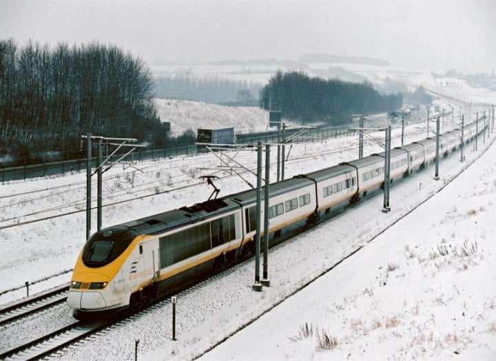 Eurostar Train in Snow