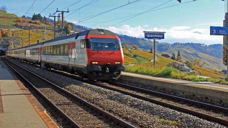 Train in Grandvaux Station - transportation to the Lavaux regions is easiest by train