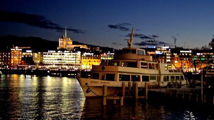 Geneva's skyline at night