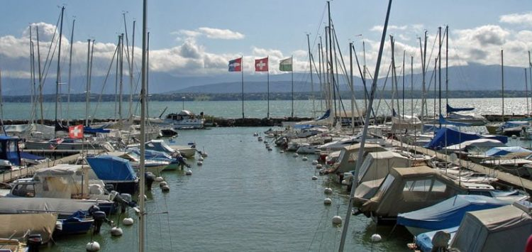 Nyon Yacht Harbour on Lac Léman.  Fishing is allowed in Lake Geneva and most rivers and lakes in Switzerland.