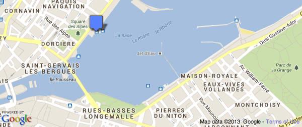 Google Map CGN Boat landings in Geneva