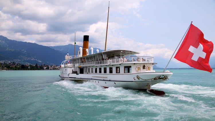 SS Montreux Leaving Vevey