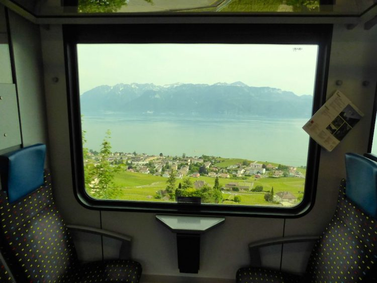 Lake Geneva viewed from the train