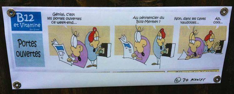 Cartoon of wine tasting in Switzerland