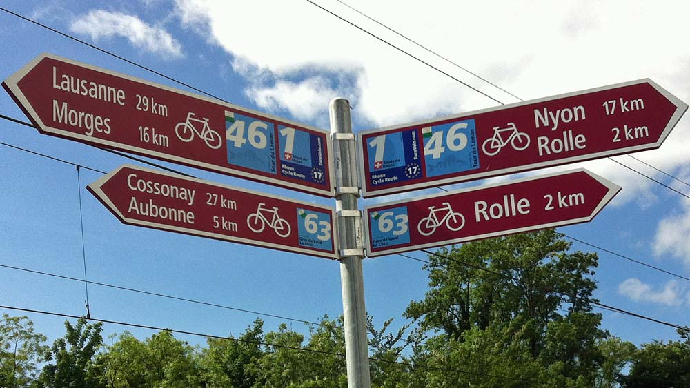 Swiss cycling route signs