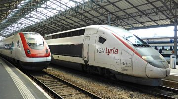 Fast TGV Lyria High-Speed Trains from Paris to Geneva and Lausanne