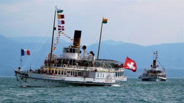SS Montreux paddle steamer on Lake Geneva