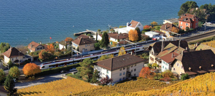 Swiss Train Lavaux in Autumn