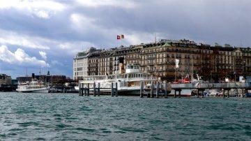 Boats on Lake Geneva in Winter