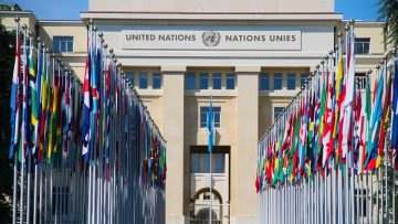 Flags outside the United Nations in Geneva Switzerland