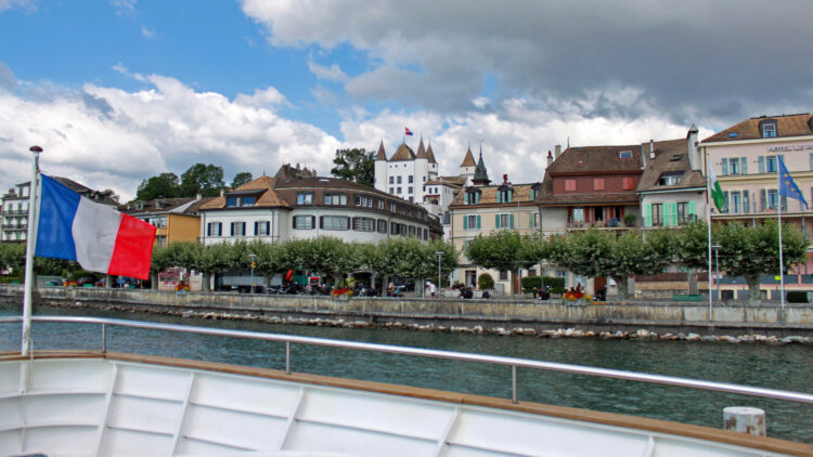 Arriving by Lake Geneva Pleasure Cruise Boat in Nyon, Switzerland