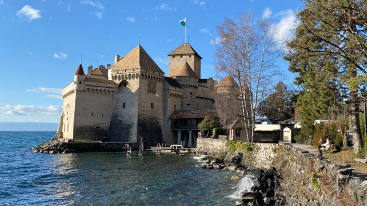 Photos of Château de Chillon on the shores of Lake Geneva near Montreux in Switzerland are popular from all angles inside and outside the castle.