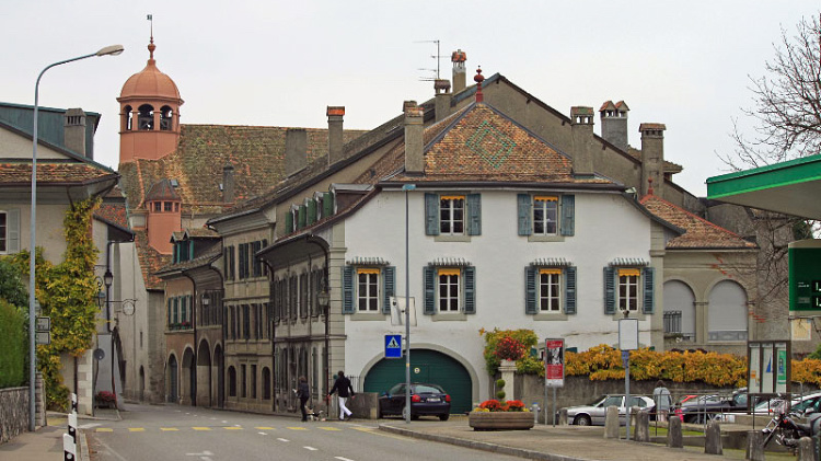 Old Town Coppet with Temple, Switzerland