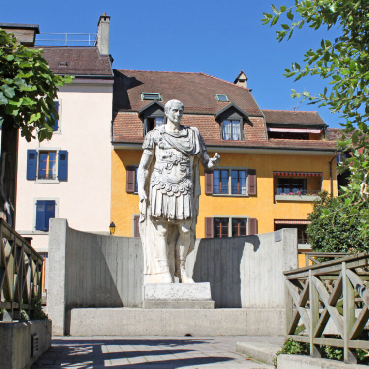 Julius Caesar Statue at the Roman Museum in Nyon, Switzerland
