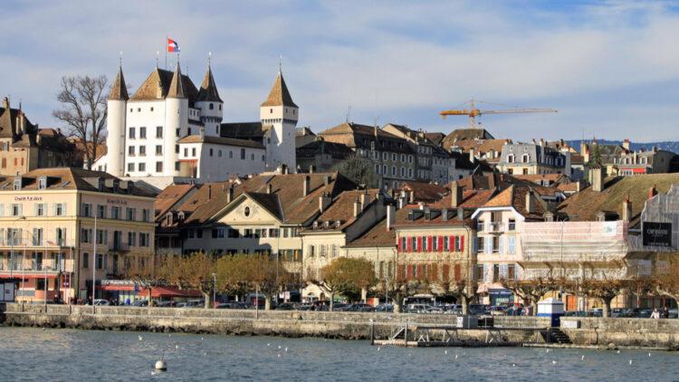 Chateau de Nyon Viewed from Lake Geneva, Switzerland