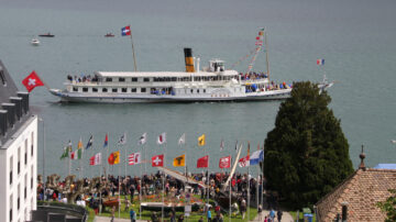 SS Rhone paddle boat off Nyon during the Naval Parade