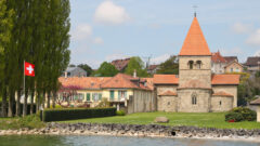 Romanesque church of St Sulpice is popular for photos in the Lake Geneva region