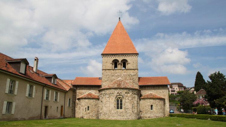 Romanesque St Sulpice Church in Switzerland