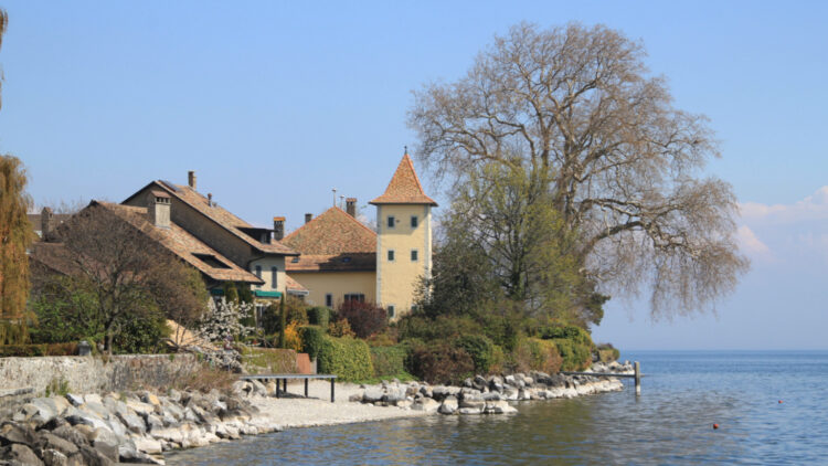 Sentier du Lac walking way in St Prex on Lake Geneva in Switzerland.