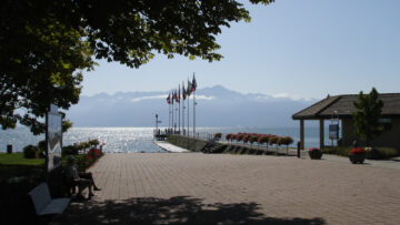 Boat landing of St Sulpice on Lake Geneva