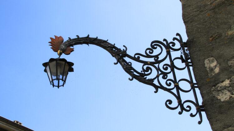 Dragon Wrought Iron lamp holder in St Prex Lake Geneva