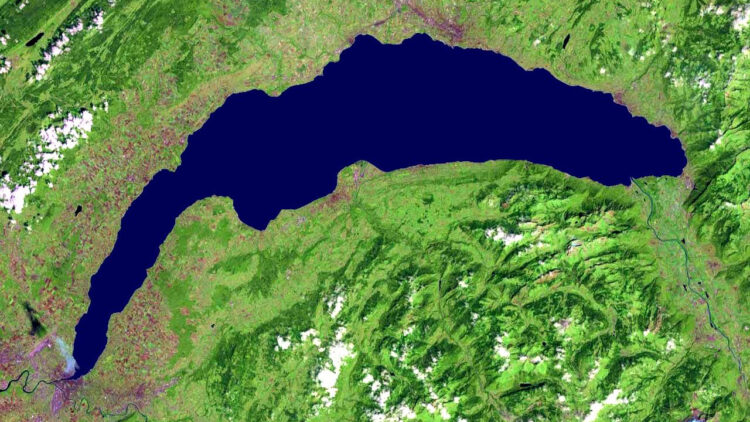 NASA Satellite View of Lake Geneva, Switzerland & France
