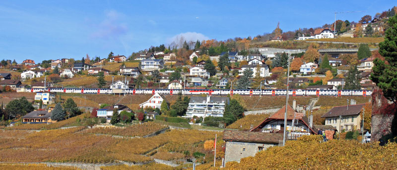 Swiss Train Passing through Grandvaux on Lake Geneva, Switzerland
