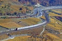 Main Railway Line from Lausanne to Bern, Switzerland