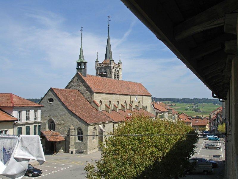 Gothic Church In Romont Switzerland Lake Geneva Switzerland